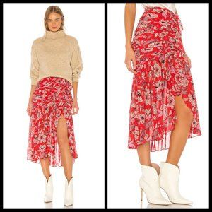 💕CINQ A SEPT💕 Midi Kathleen Skirt ~ Venetian Red
